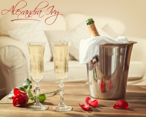Romantic champagne for two on Valentines Day